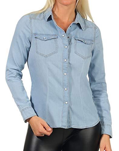 ONLY Damen Jeans-Hemd ONLRockit Life Shirt mit Knopfleiste 15195898 Light Blue Denim 38