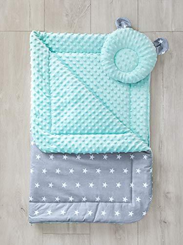 LOOLAY® Zweiseitige warm Babydecke solo/oder mit Bärchen KISSEN Decke 80 x 100 cm 100% Baumwolle/MINKY Kinderwagendecke Krabbeldecke Kuscheldecke (Sternchen grau/MINKY minze B)
