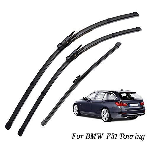 QOHFLD Tergicristallo 3Pcs / Set Set di spazzole tergicristallo per Parabrezza del portellone Posteriore Anteriore, per BMW Serie 3 F31 Touring 2011-2019