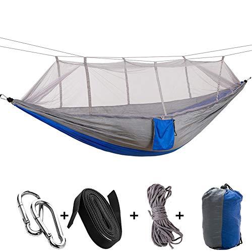 Hamaca portátil para acampar, con mosquitera, columpio de nylon paracaídas, cama colgante de hamaca de viaje transpirable con cuerda/ganchos, para acampar, playa, etc.(Gris lucha azul)