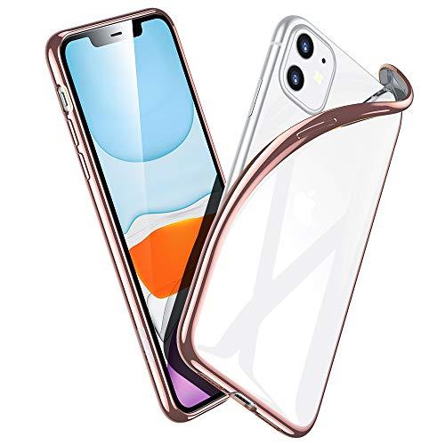 ESR Klar Silikon Kompatibel mit iPhone 11 Hülle - Dünne weiche TPU Schutzhülle - Flexible Slim iPhone 11 Hülle mit Mikrodot-Muster [Anti-Scratch ] für iPhone 11-Roségold Rahmen
