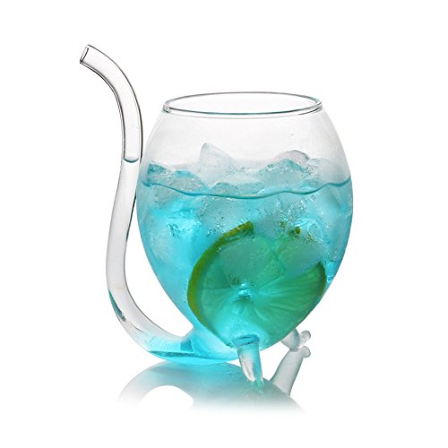 Cutowin - Taza de cristal transparente de 300 ml con pajita de tubo de bebida (2 unidades)