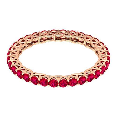 Anillo de compromiso con relleno de cristal de rubí, certificado de 1,60 quilates, anillo de novia antiguo, anillo de eternidad de piedras preciosas para ella, 14K Oro rosa, Size:EU 70