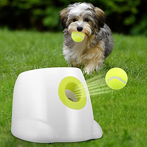 KKTECT Lanciatore automatico di palline,macchina automatica per palline per cani di piccola taglia, macchina per palline da tennis,giocattolo puzzle interattivo per addestramento del cane IQ,3 palline