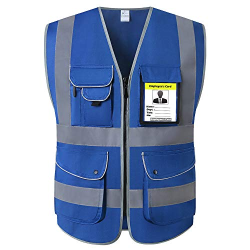 Blue Construction Safety Vests With Pockets High Visibility Zipper Front Reflective Safety Vest With Reflective Strips For Men And Women ANSI/ISEA Standards Construction Surveyor Workwear(Large, Blue)