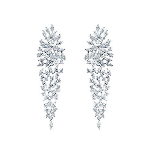 QUKE Luxury Bright Cubic Zirconia Crystal Drop Long Tassel Dangle Earrings For Brides Wedding