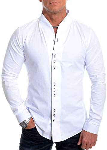 D&R Fashion Herren Formal Hemd mit Doppelmanschetten Band Stehkragen und Kontrast Piping