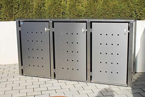Kirchberger Metall Mülltonnenbox Universal 240 Liter und 120 Liter Edelstahl 3er Box abschließbarer Griff, abschließbar, mit Befestigungsset, Klappdach