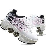 インラインスケート、2 in 1多目的靴、女性のアイススケート調節可能なクワッドローラースケートブーツ roller skates 1125 (Size : 33)