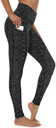 syoss Yoga Pants for Women with Pockets High Waisted Leggings with Pockets for Women Workout Leggings for Women 3XL, Black Camo