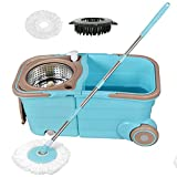 Buyplus Spin Mop Bucket System with Wringer - 360 Spinning Mop Bucket Stainless Telescopic Handle Pole Extra Long, with 2 Microfiber Heads Replacement and Brush