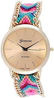 Geneva Women's Gold Dial Knitted Weave Fabric Band Watch - UMB-3118-1