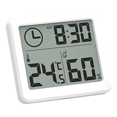 LAJIOJIO Medidor de humedad para interior con reloj, termómetro digital, higrómetro y pantalla LCD inalámbrica, medidor de temperatura y humedad para escritorio de oficina en casa