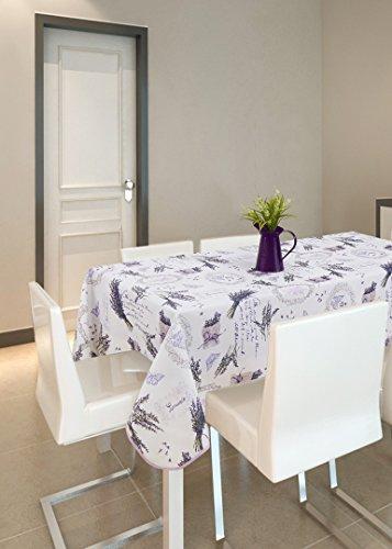 Frenessa Mantel Mesa Cuadrado Antimanchas Impermeable, Manteles Estampados para Comedor Cocina Casa Hotel Restaurante, 140x140cm, Lavanda Violeta