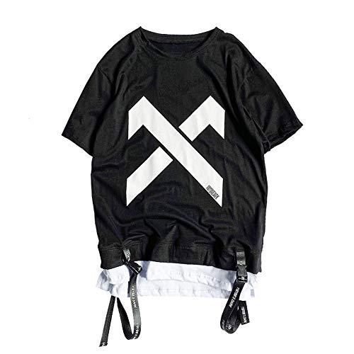 Tasty Life Camiseta De Hip-Hop para Hombre Moda Falsa De Dos Piezas Camiseta con Estampado De Verano Cuello Redondo Camisa Suelta De Manga Corta Estilo Anime Punk Ropa De Calle(L,Black)