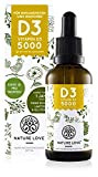 NATURE LOVE® Vitamin D3 - Mehrfacher Sieger 2020* - Laborgeprüfte 5000 I.E. pro Tropfen - Premium: sehr hohe Stabilität. Flüssig in Tropfen (50ml). Hochdosiert, hergestellt in Deutschland