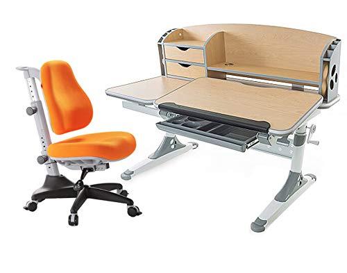 Ergodesk Set Bologna Schreibtisch reguliert mit Aufsatz Höhenverstellbarer Schreibtisch mit COMF-PRO Match Stuhl Bürostuhl Schreibtischstuhl (EIN brauner Schreibtisch mit einem orangen Stuhl)