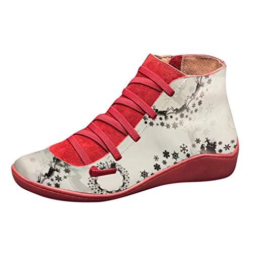 Yowablo Stiefeletten Damen Casual Flache Leder Retro Schnürstiefel Seitlicher Reißverschluss Runde Kappe Einfarbig (40 EU,12- rot)