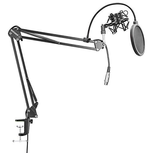 Neewer NW-35 Stand Asta Sospensione Braccio Forbici Tavolo per Microfono con Built-in Cavo XLR Maschio a Femmina Supporto Anti-vibrazione Filtro Pop 6' per Radio Trasmissioni Registrazioni(Nero)