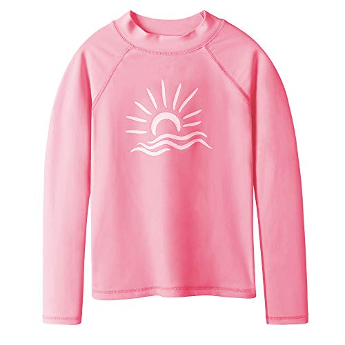 TFJH 1pcs Girls Long Sleeve Swim Shirt UPF 50+ Rash Guard Suit Kids Beachwear Peach Long 4A