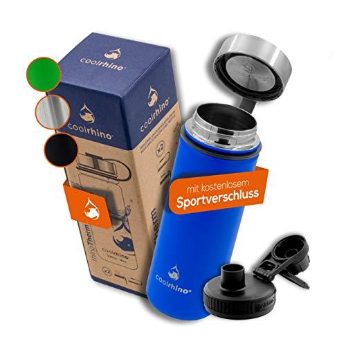 coolrhino Botella de Agua Térmica + 2 Tapones sin BPA - 1l & 500ml | Frasco Termo de Acero Inoxidable + Aislamiento Vacío | Cantimplora Aislada Oficina Bicicleta Deporte Caliente Fría Café Té