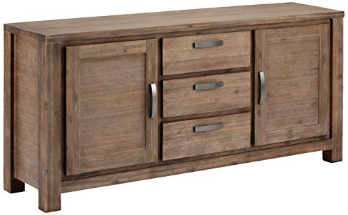 Ibbe Design Sideboard Anrichte Braun Lackiert Massiv Akazie Kommode mit 2 Türen und 3 Schubladen Alaska, 180x45x85cm