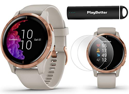 Garmin Venu (Light Sand/Rose Gold) Power Bundle | +HD Screen Protectors (x4) & PlayBetter Portable Charger | AMOLED Display, Spotify | Fitness GPS Smartwatch