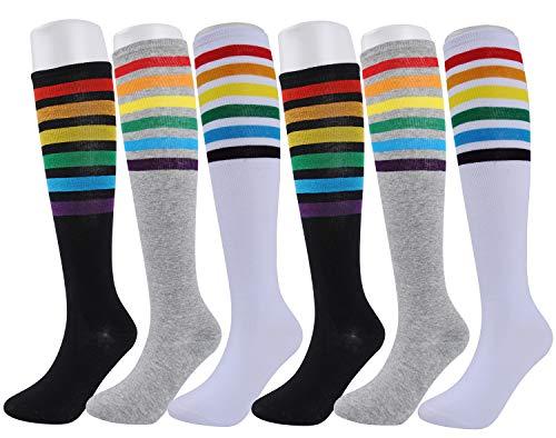 6 Pairs Women's Cotton Knit Colorful Stripe Rainbow Knee High Socks Tube Boot Socks Gift Size 6-10