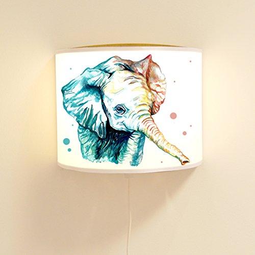ilka parey wandtattoo-welt Leseschlummerlampe Leselampe Schlummerlampe Wandlampe Kinderlampe Lampe Elefant Aquarell mit Punkten Ls39