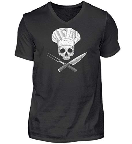 Koch-Shirt | KOCH Chef Skull Cook/Gastronomie Gastro T-Shirt/Arbeitskleidung/Lustig - Herren V-Neck Shirt -M-Schwarz