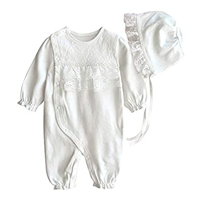 Baby Girls Jumpsuits Infant Cotton One-Piece Romper Long Sleeve Footless Newborn Pajama Sleep & Play Christening Outfit, 6-9 Months