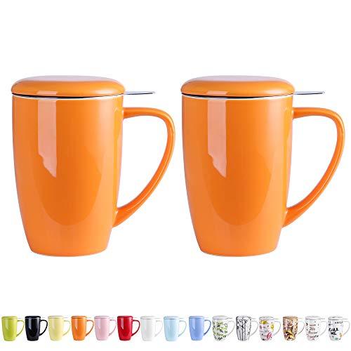 LOVECASA Tazas de Té con Tapa y Filtro Acero Inoxidable 450 ML, Tisana de Porcelana Naranja, Regalo Mugs 2 Piezas