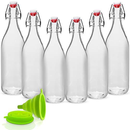WILLDAN Giara Glass Bottle with Stopper Caps, Set of 6-33.75 Oz Swing Top Glass Bottles for Beverages, Oils, Kombucha, Kefir, Vinegar, Leak Proof Lids