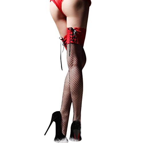 Letdown Sexy Women Thigh Highs Hosiery Net Stockings (Red)