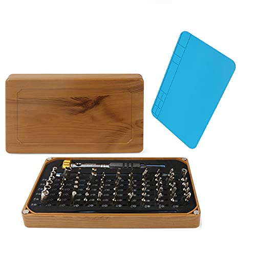 XDXDO 68 in 1 Professional Precision Screwdriver Set, Portable Repair Screwdriver Set with Repair Pad And Wooden Storage Case for Mobile Phones And Watches