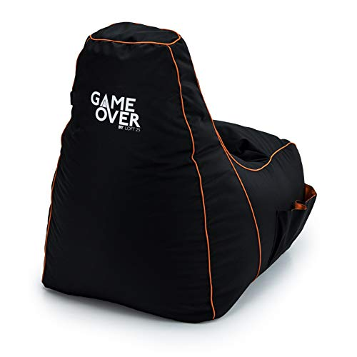 Game Over Portal Jump Video Gaming Bean Bag Chair | Indoor Living Room | Side Pockets for Controllers | Headset Holder | Ergonomic Design for the Dedicated Gamer