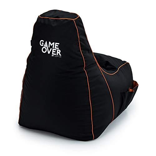 Game Over Video Spiele Sitzsack | Indoor Wohnzimmer | Seitentaschen für Controller | Headset Halter | Ergonomisches Design für die Gewidmet Gamer (Portal Jump)
