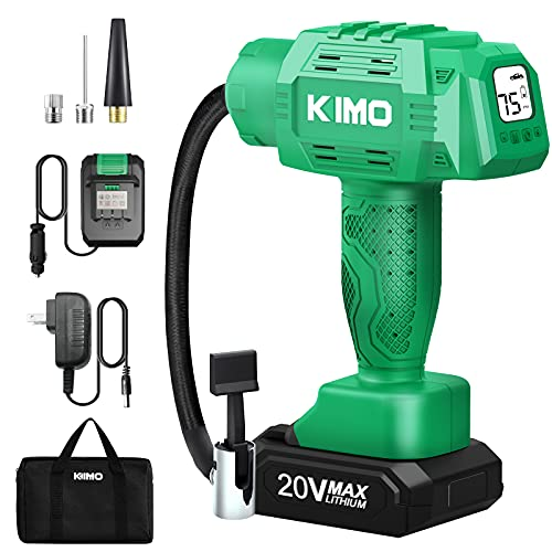 KIMO Portable Air Compressor, 20V 145PSI Tire Inflator w/ 1-Min Fast Tire Inflation, Li-ion Battery & Car Power Adapter, Auto Shutoff Tire Pump with Digital Pressure Gauge for Inflatables & Car Bike