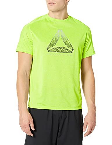Reebok - Camiseta de Running Reflectante para Hombre, Manga Corta, Color Lima neón, Talla XL