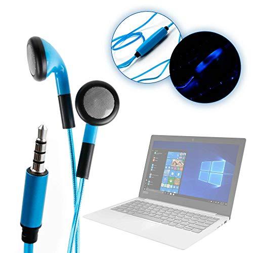 DURAGADGET Auriculares In-Ear con Luz LED Azul para Portátil Lenovo IdeaPad 120S-14IAP, Lenovo IdeaPad 120S-11IAP, Lenovo Ideapad 720S-13IKB- ¡Las Luces Se Mueven Al Ritmo De La Música!