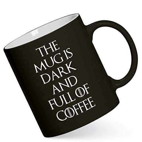 42thinx Tasse mit Spruch GoT Fanartikel - The Mug is Dark and Full of Coffee I Kaffeetasse mit Spruch 340 ml I Lustige Tasse für Büro Geschenk mit hochwertigem Druck spülmaschinenfest I Schwarz