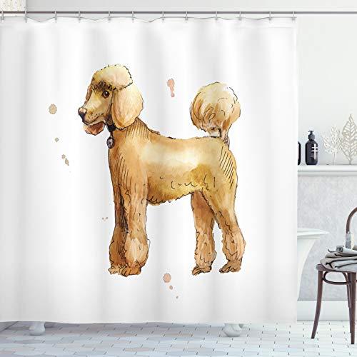 ABAKUHAUS Pudel Duschvorhang, Cartoon-Stil auf 4 Feet, Set inkl.12 Haken aus Stoff Wasserdicht Bakterie & Schimmel Abweichent, 175x180 cm, Pastell Brown Umber