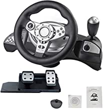 Game Steering Wheel with Responsive Pedals Simulation Racing Wheel Dual-Motor Feedback Driving Force Racing Wheel Learn to...