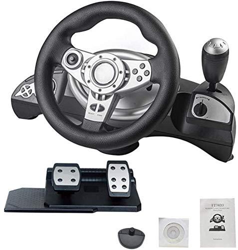 Jeu Volant avec Pédales Simulation Responsive Racing Wheel Feedback Dual-Moteur Driving Force Racing Wheel Apprendre À Conduire Une Voiture