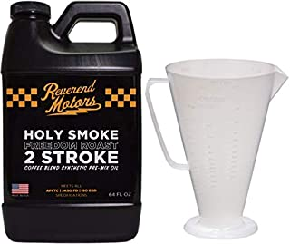 REVEREND MOTORS 2 Stroke Oil w/Ratio Rite Mixing Cup| Full Synthetic Racing Premix| | 2 Stroke Premix Oil- 64oz