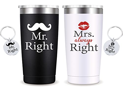 Mr Right Mrs Always Right Wedding Gifts-Couple Gifts for Anniversary Engagement Birthday Valentina,2pcs Stainless Steel Mug with Lid and Straw,Gifts for His her 20oz Blackwhite