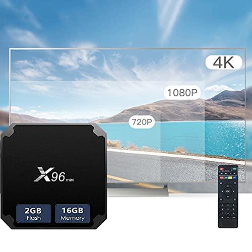 YP Android TV Box 4K WiFi Smart TV Box 2 Ram con 2 Procesadores & 16GB ROM & Mando a Distancia por Infrarrojos & 1M Cable HDMI, Admite Mouse/Teclado Inalámbrico y TF Card y U Disco