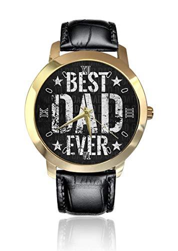 Best Dad Ever Personalizado Moda Clásico Analógico Reloj de Pulsera de Cuarzo Reloj de Cuero Cinturón para Hombres Mujeres