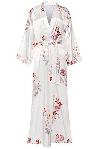 Coucoland Damen Morgenmantel Maxi Lang Satin Sommer Kimono Kleid Blumen Muster Kimono Bademantel Damen Lange Robe Blumen Schlafmantel Girl Pajama Party (Weiß)