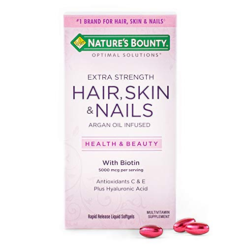 Nature's Bounty Optimal Solutions Hair Skin & Nails Extra Strength, 150 Softgels, Multivitamin Supplement, with Antioxidants C & E